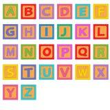 Bloques de madera del alfabeto stock de ilustración