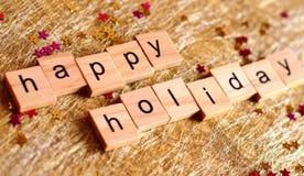 Bloques de madera del día de fiesta feliz Imagen de archivo