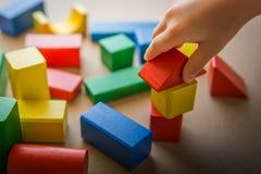 Bloques de madera del juego del niño Imágenes de archivo libres de regalías