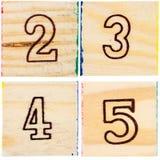 Bloques de madera del juguete con números Fotografía de archivo libre de regalías