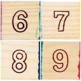 Bloques de madera del juguete con números Foto de archivo