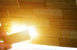 Bloques de madera dispuestos Imagen de archivo libre de regalías
