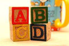 Bloques de palabra de ABCD - concepto de la educación escolar Imagen de archivo