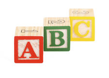 Bloques del alfabeto aislados Imagenes de archivo