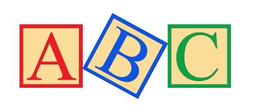 Bloques del alfabeto del ABC Foto de archivo
