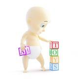 Bloques del alfabeto del bebé 3d Fotos de archivo libres de regalías