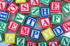 Bloques del alfabeto del juguete Imágenes de archivo libres de regalías