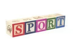 Bloques del alfabeto - deporte Imágenes de archivo libres de regalías