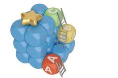 Bloques del azul con las letras y las escaleras, ejemplo 3D libre illustration
