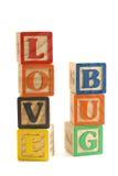 Bloques del fallo de funcionamiento del amor Imágenes de archivo libres de regalías