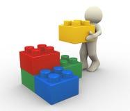 bloques del hombre 3d y del juguete Imagen de archivo libre de regalías