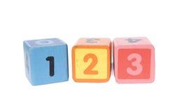 Bloques del juego con 123 números Foto de archivo libre de regalías