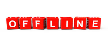 Bloques del rojo con la muestra off-line Imagen de archivo libre de regalías