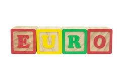 Bloques euro del alfabeto Imágenes de archivo libres de regalías
