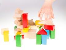 Bloques huecos de madera coloridos Foto de archivo libre de regalías