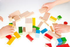 Bloques huecos de madera coloridos Foto de archivo