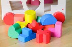 Bloques huecos del juguete de madera Fotos de archivo