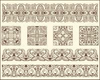 Bloques y rayas de los estampados de flores de Monochrrome Imagen de archivo libre de regalías