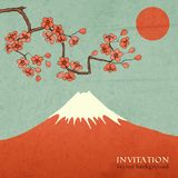 Blossom cherry or sakura mountain invitation Royalty Free Stock Photo