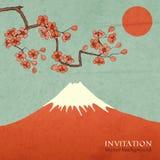 Blossom cherry or sakura mountain invitation Royalty Free Stock Photo
