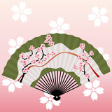 Blossom Fan. Japanese traditional graphic. Japanese Fan Royalty Free Stock Image