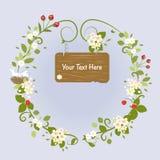 Blossom Frame Fairy Message Text Love Bird. Blossom Frame Fairy Message Love Bird Romantic Wreath Vector Illustration Royalty Free Stock Photo