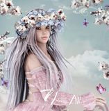 Blossom girl. Beautiful fairy with cherry blossom crown Royalty Free Stock Photos