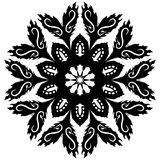 Blossom Glyph. A black and white clip-art graphic of petals emerging from a radial floral symbol Royalty Free Stock Photography