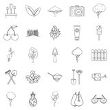 Blossom icons set, outline style. Blossom icons set. Outline set of 25 blossom vector icons for web isolated on white background Royalty Free Stock Photos