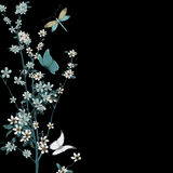 Blossom and insects vector Royalty Free Stock Images
