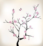 Blossom painting. With 2 butterflies Stock Photography