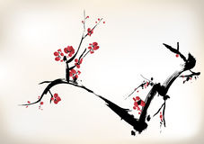 Blossom painting. Chinese ink style vector illustration