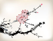 Blossom painting. In ink style Stock Photography