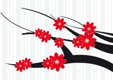 Blossom Red Flowers. On a tree royalty free illustration