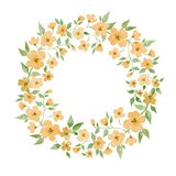 Blossom. Round frame. Watercolor floral wreath. Element for design Stock Photos
