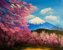 Blossom sacuras and Fuji. Oil painting stock photo