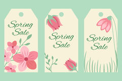 Blossom sale tags with floral ornament. Sale tags with floral ornament and text Stock Images