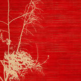 Blossom silhouette on red ribbed handmade paper Royalty Free Stock Image