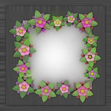 Blossom square frame card on metallic surface Royalty Free Stock Photos