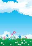 Blossom summer. Vector illustration of summer landscape with many flowers on green grass and blue sky with fluffy clouds Stock Photography
