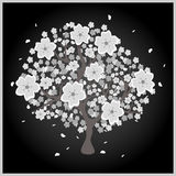 Blossom tree with grey and white flowers Stock Photos