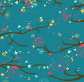Blossom wood and bees background. Blossom wood and bees seamless pattern. Vector illustration Stock Photo