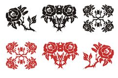 The blossomed rose in black and red options Stock Photography