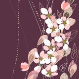 Blossomig branches on dark background Royalty Free Stock Image