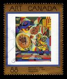 Blossoming by Alfred Pellan. CANADA - CIRCA 1995: A stamp printed in Canada shows `blossoming` by Alfred Pellan, was canadian artist, circa 1995 stock images