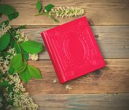 Blossoming bird-cherry and vintage album stock images