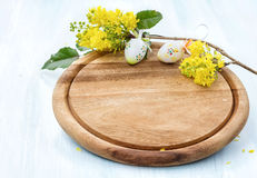 Blossoming branch and easter eggs. Royalty Free Stock Photos