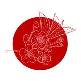 Blossoming Cherry Tree. Branch against a red sun. Vector illustration Stock Photo