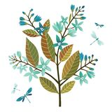 The blossoming decorative stylized branch with blue colors and dragonflies. Vector illustration isolated on white background vector illustration