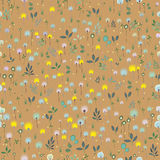 Blossoming Field. Floral Seamless Pattern. Yellow and blue flowers with brown background. Illustration Royalty Free Stock Image